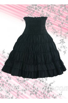Black Ruffle Corset Cotton Lolita Skirt