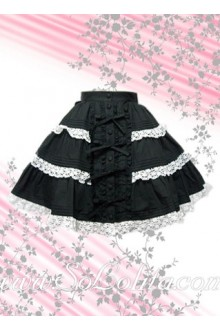 White Lace Hem Black Striated Lolita Skirt