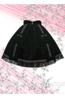 Sweetheart Lace Hem Black Lovely Lolita Skirt