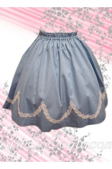 White Petal Hem Blue Lovely Lolita Skirt