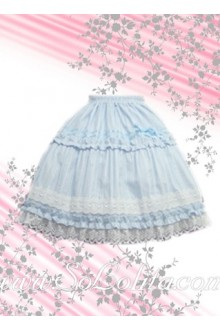 White Petal Blue Sweet Lolita Skirt