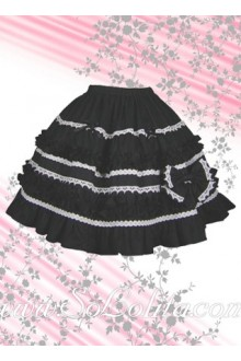 Black Flounce White Hem Cotton Lolita Skirt