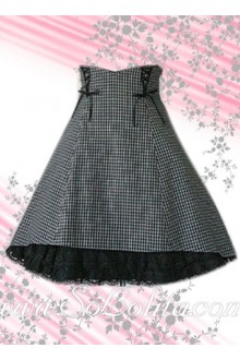 Black Plaid Elegance Cotton Lolita Skirt