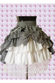Kawayi Black Plaid Bow White Multi-Layer Lolita Skirt