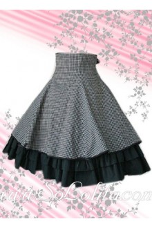 Black Plaid Flounce Multi-layer Lolita Skirt