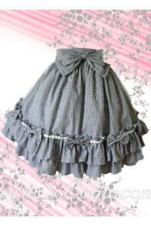 Bow Checked Flounce Multi-layer Hem Lolita Skirt