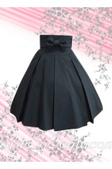 Black Bow Ruffle Cotton Lolita Skirt