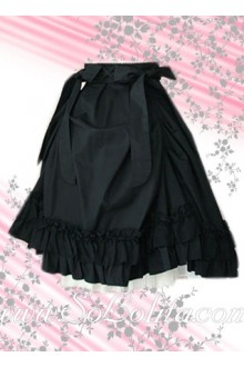 Bow Ruffle Flounce Cotton Lolita Skirt