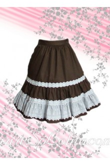 White Hem Coffee Pleated Lolita Skirt