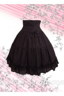 Bow Flounce Pleated Coffee Lolita Skirt