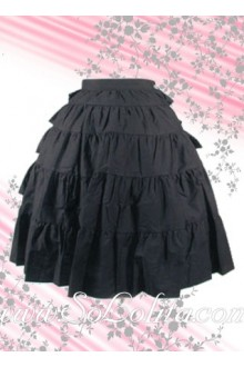 Black Ruffle Cotton Long Lolita Skirt
