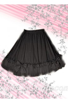 Grey Bow Pleated Cotton Lolita Skirt