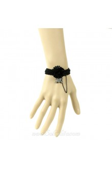 Skull and Crossbones Lace Flower Lolita Bracelet