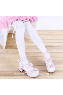 Cute Sweety Pop White Bow Lolita Knee Stockings