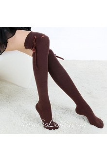 Cute Sweety Pop Coffee Bow Lolita Knee Stockings