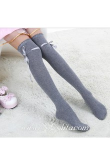 Cute Sweety Pop Gray Bow Lolita Knee Stockings