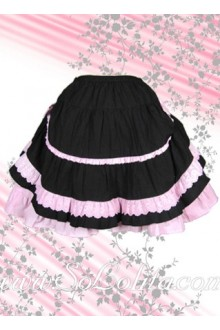 Kawaii Pink Petal Hem Black Lolita Skirt