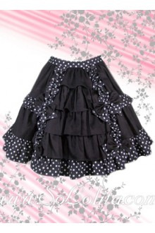 Black Polka Dots Hem Black Ruffle Lolita Skirt