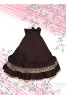 Bow Multi-layer Border Coffee Lolita Skirt