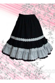 Lovely White Lace Hem Black Lolita Skirt