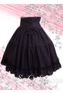 Black Bow Pleated Cotton Lolita Skirt