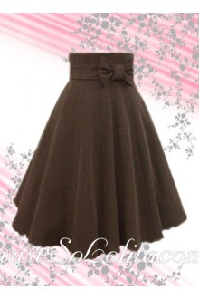 Brown Bowknot long cotton Elegance Lolita Skirt